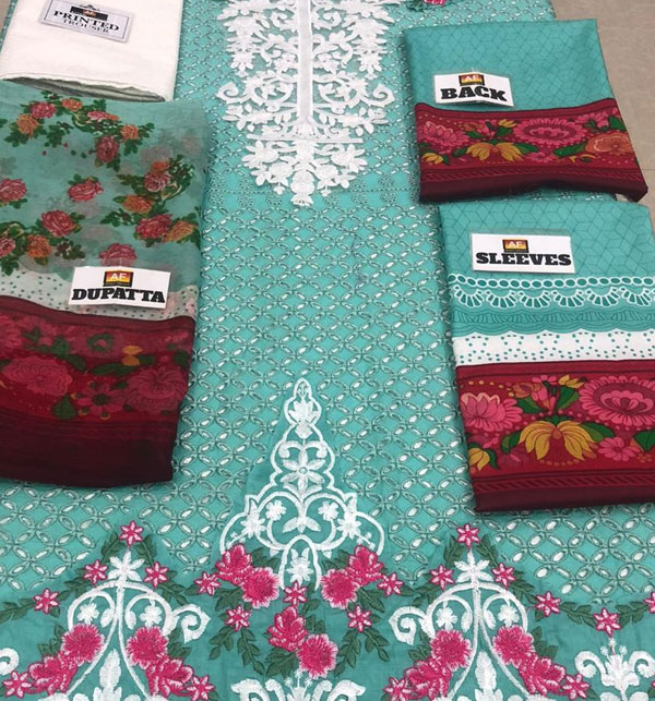 Eid Embroidered Chikankari Unstitched 3 Piece Suit  (Unstitched ) (DRL-522) Gallery Image 3