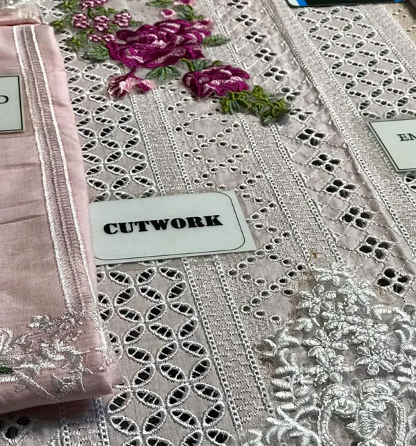 Luxury Embroidered Chikankari Lawn Suit 2020 with Silk Dupatta  (Unstitched ) (DRL-523) Gallery Image 2