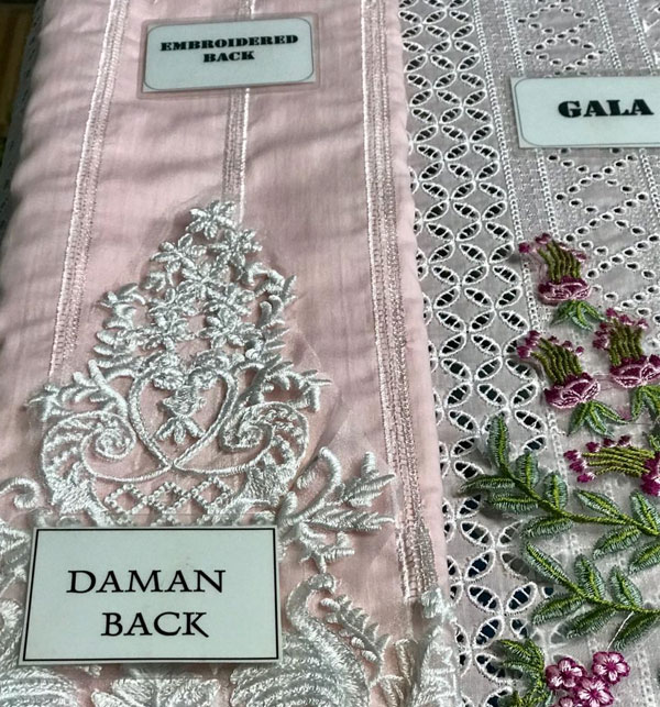 Luxury Embroidered Chikankari Lawn Suit 2020 with Silk Dupatta  (Unstitched ) (DRL-523) Gallery Image 3