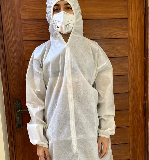 Virus Safety Gown with (Hoodie Cap) & MASK - Disposable Gallery Image 1
