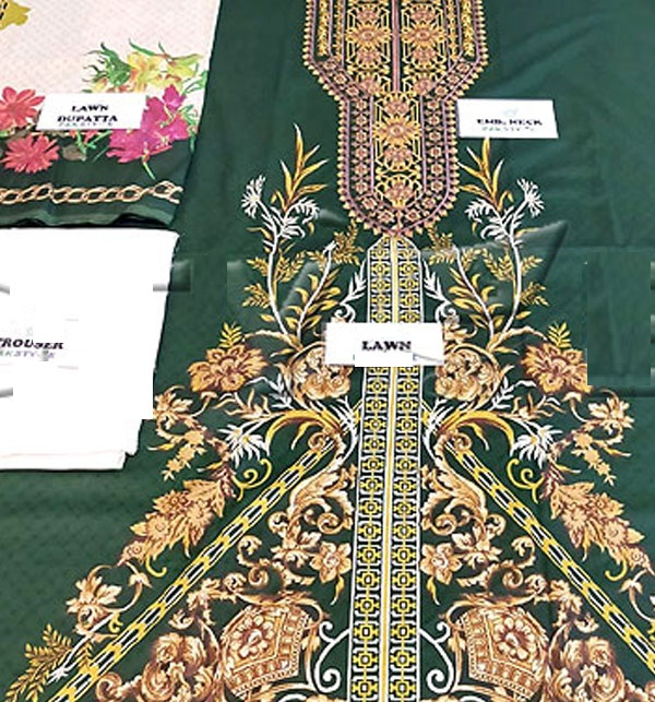 Lawn Embroidered Suits 2020 with Lawn Dupatta UnStitched (DRL-572) Gallery Image 1