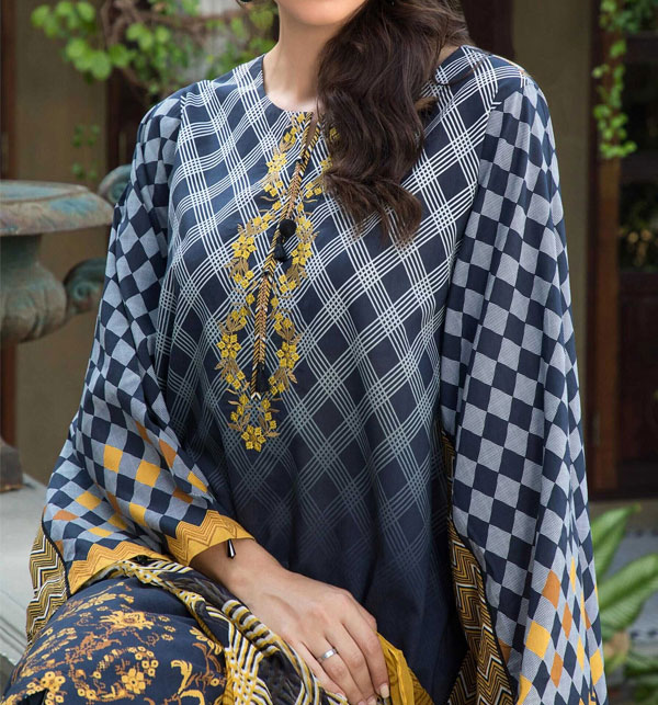 Embroidered Neckline Digital Printed Lawn Shirt with Chiffon Dupatta UnStitched (DRL-579) Gallery Image 1