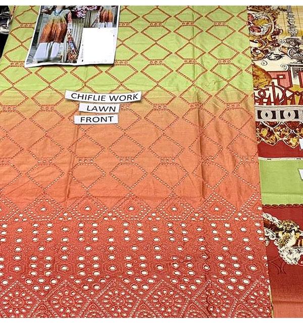 Luxury Schiffli Embroidered Lawn Dress 2020 with Chiffon Dupatta UnStitched (DRL-580) Gallery Image 2