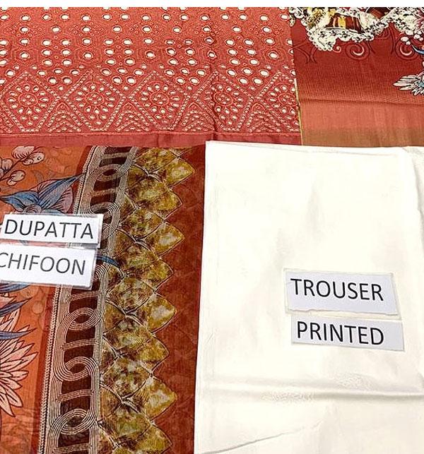 Luxury Schiffli Embroidered Lawn Dress 2020 with Chiffon Dupatta UnStitched (DRL-580) Gallery Image 3