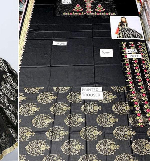 Eid Kids 2-Pcs Embroidered Black Lawn Dress UnStitched (DK-107) Gallery Image 1