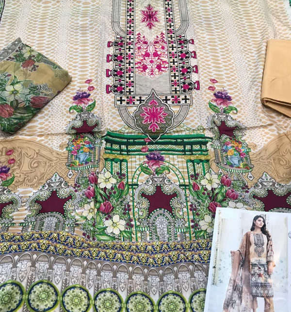 Latest Lawn Collection 2020 With Chiffon Duppata UnStitched  (DRL-610) Gallery Image 1