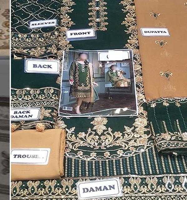 Latest Handwork Embroidered Chiffon Wedding Dress (Unstitched) (CHI-363) Gallery Image 1