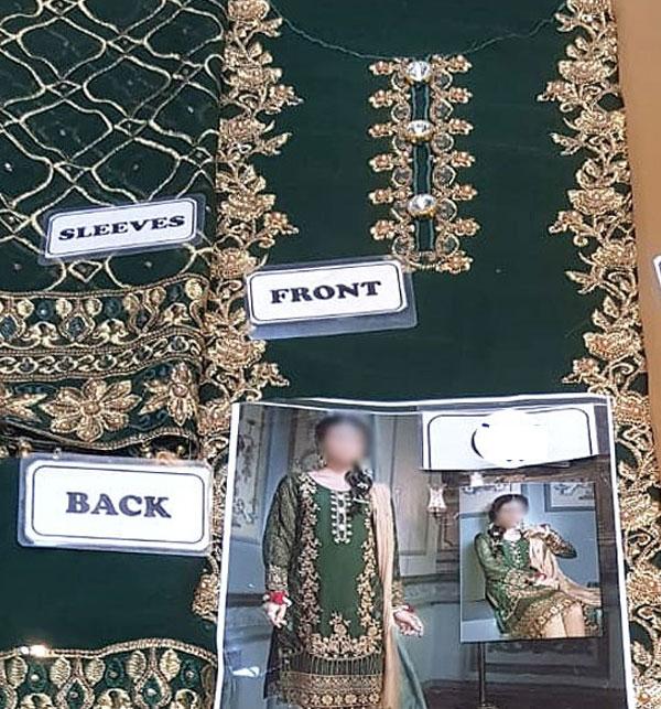 Latest Handwork Embroidered Chiffon Wedding Dress (Unstitched) (CHI-363) Gallery Image 2
