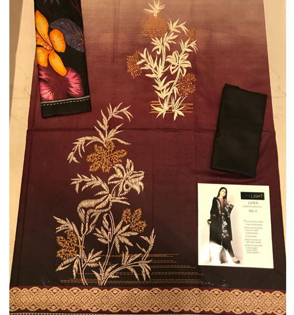 HIt Design 2020 Embroidered Lawn Suit with Lawn Dupatta  (DRL-618) Gallery Image 2