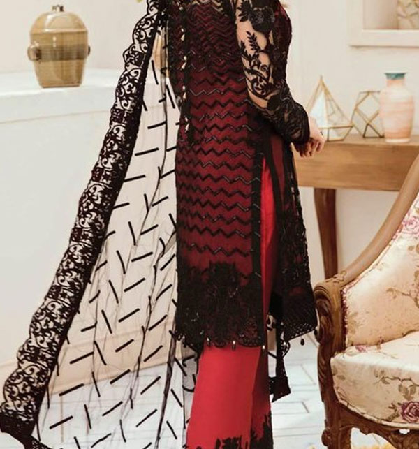 Luxury NET Embroidered Suite Heavy Net Embroidery Dupatta Unstitched (CHI-369) Gallery Image 1