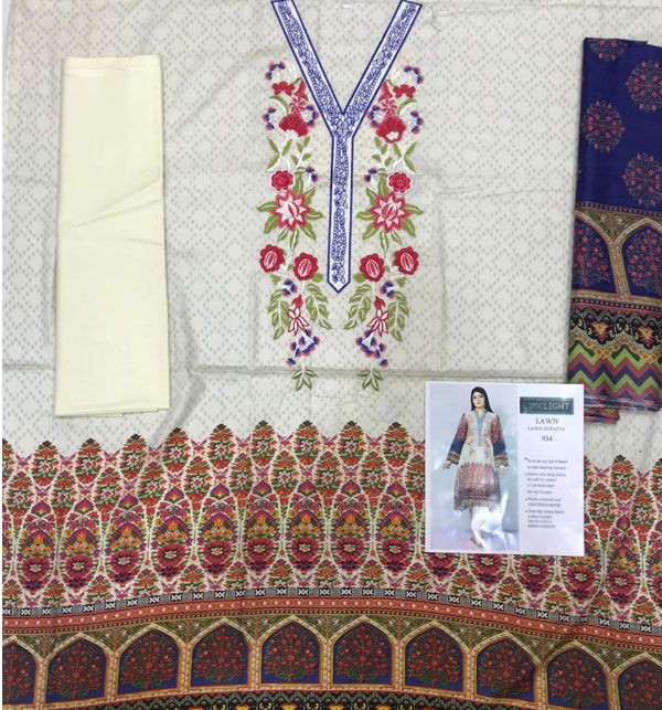 LAWN EMBROIDERED DRESS WITH LAWN DUPATTA  UnStitched (DRL-628) Gallery Image 1