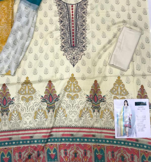 Masoori Lawn Dress with Chiffon Dupatta UnStitched (DRL-630) Gallery Image 1