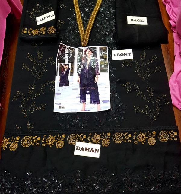 Unstitched Black Heavy Embroidered Chiffon Kurti Gallery Image 1