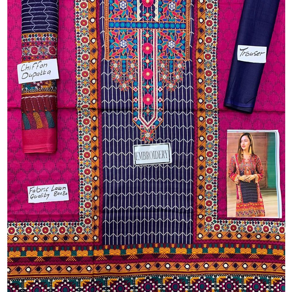 Pack OF 2 Hit Latest Lawn Embroidery Dress 2020 2021  (DRL-418) & (DRL-573) Gallery Image 1