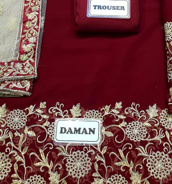 Indian Embroidered Maroon Chiffon Frock Dress (CHI-373) Gallery Image 2