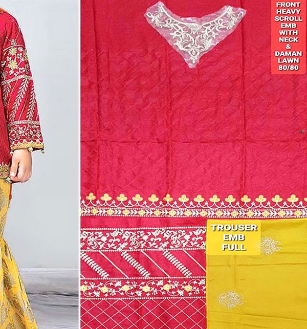 Kids 2-Pcs Embroidered Lawn Dress 2020 UnStitched (DK-118) Gallery Image 1