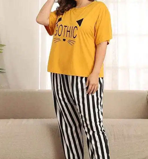 Gothic Night Dress Printed T-shirts With Striped Trouser Gallery Image 1