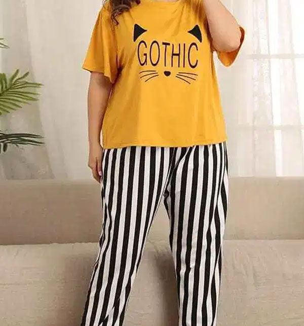 Gothic Night Dress Printed T-shirts With Striped Trouser Gallery Image 2