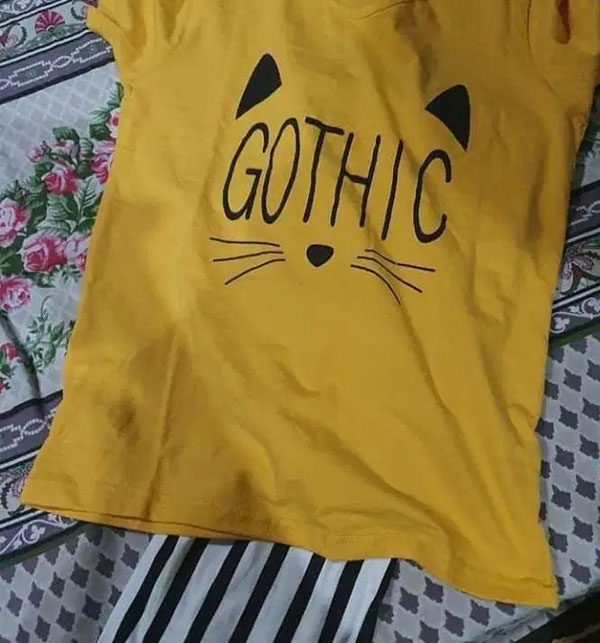 Gothic Night Dress Printed T-shirts With Striped Trouser Gallery Image 3