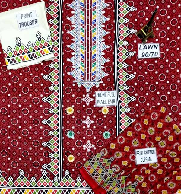 Ajrak Lawn Embroidery Suit Lawn Dupatta UnStitched (DRL-651) Gallery Image 1