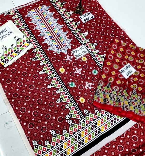 Ajrak Lawn Embroidery Suit Lawn Dupatta UnStitched (DRL-651) Gallery Image 2