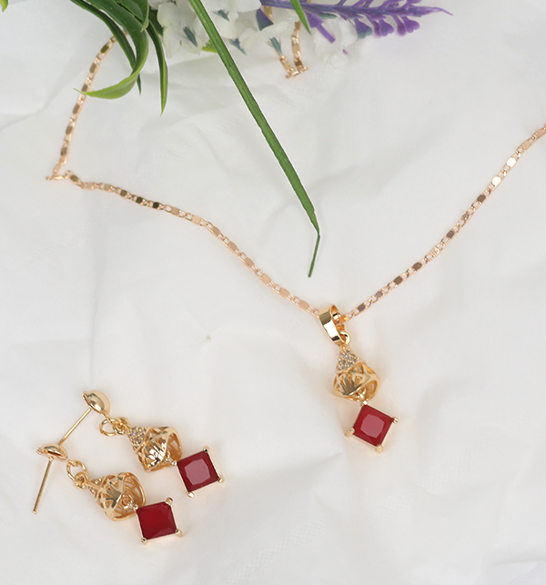 Beautiful Necklace Set Red Stone With Earrings &Ring (PS-176) Gallery Image 1