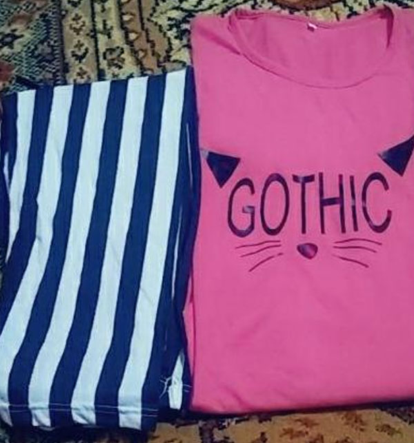 Gothic Pink Night Dress Printed T-shirts With Striped Trouser Gallery Image 1