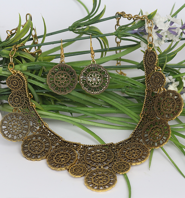 Golden Metallic Antique And Ethnic Indian Necklace Set (PS-179) Gallery Image 1