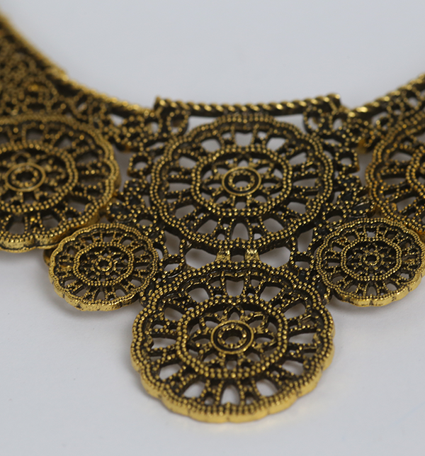 Golden Metallic Antique And Ethnic Indian Necklace Set (PS-179) Gallery Image 2