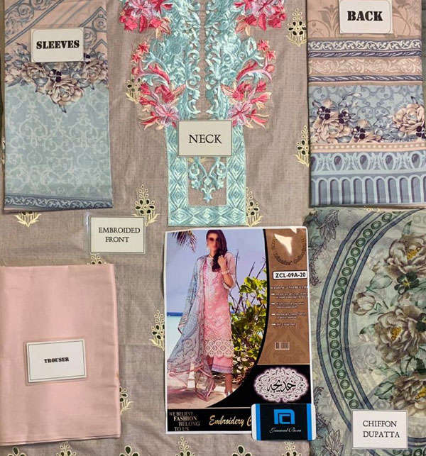 Luxury Heavy Embroidered Lawn 2020 With Chiffon Duppata UnStitched (DRL-655) Gallery Image 1