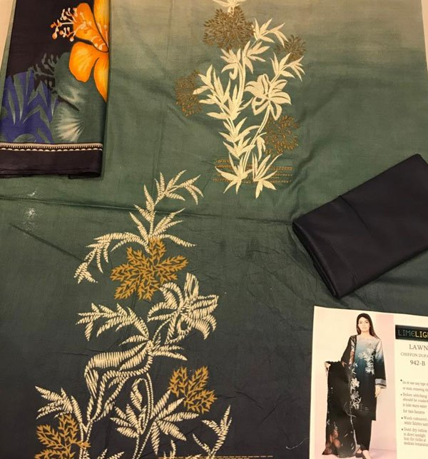 Pack OF 2 Embroidered Lawn Suit with Lawn Dupatta (DRL-619) & (DRL-418) Gallery Image 1