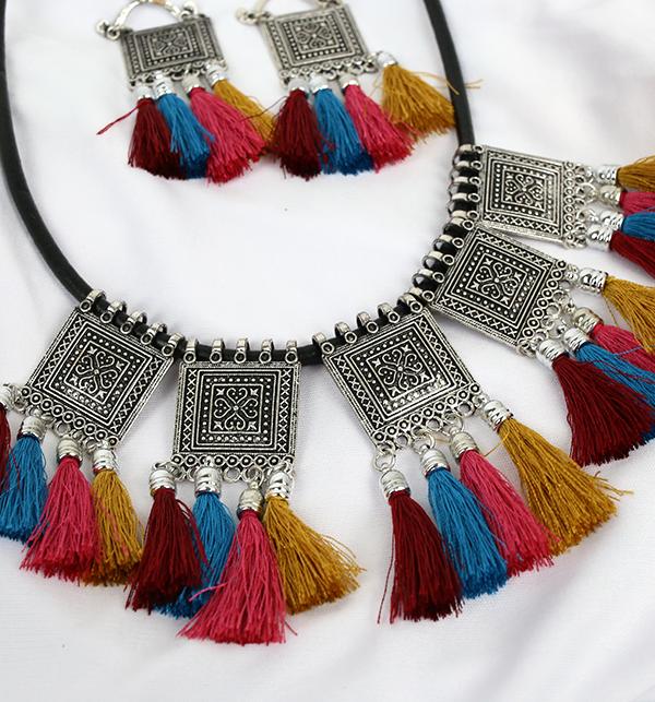Multi Color TASSEL Necklace Set (PS-192) Gallery Image 1