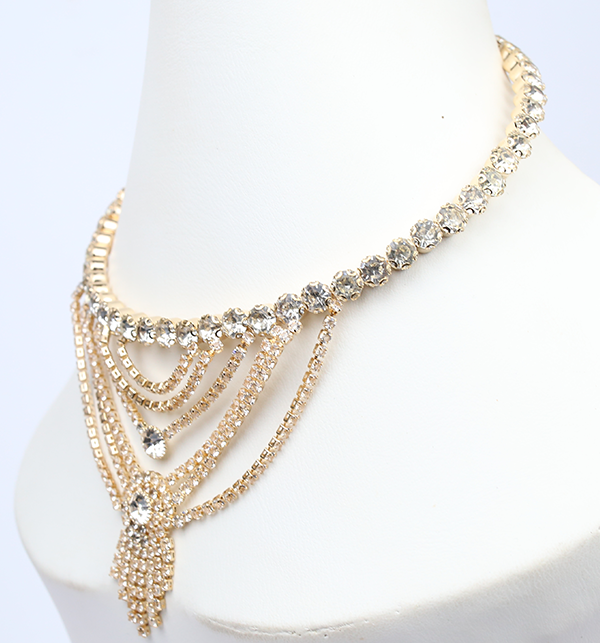Choker Necklace Gold Color With Earrings (PS-206) Gallery Image 1