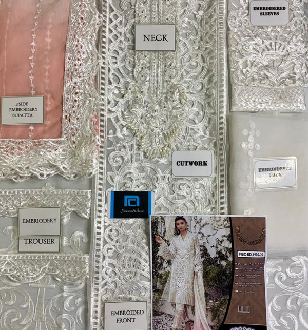 New Organza Heavy Embroidery Suit Unsitched ((CHI-380) Gallery Image 1