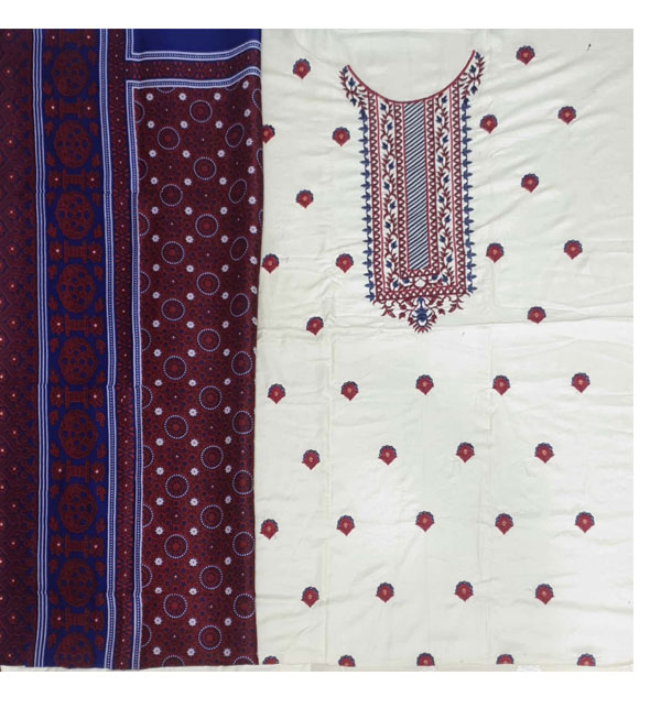Linen Heavy Embroidery Suit With AJRAK SHAWL PRINT (Unstitched) (LN-153) Gallery Image 2