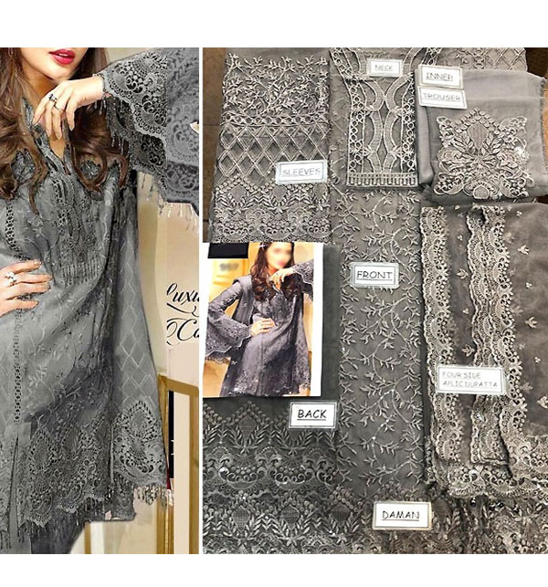 NET Heavy Embroidered Dress Embroidered Net Dupatta UnStitched (CHI-385) Gallery Image 1