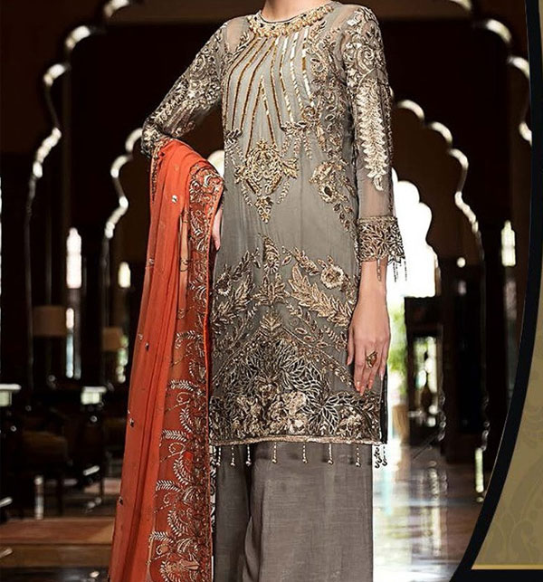 New Heavy Chiffon Embroidered  Suit With Chiffon Duppata unstitched (CHI-386) Gallery Image 1