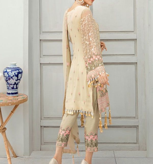New Chiffon Embroidered Suit With Chiffon Embroidered Dupatta Unstitched (CHI-388) Gallery Image 1