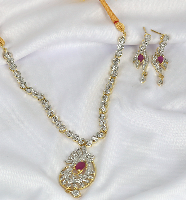 Beautiful Zircone Necklace Set With Earrings (PS-221) Gallery Image 1