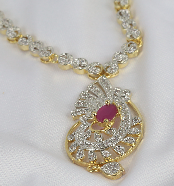 Beautiful Zircone Necklace Set With Earrings (PS-221) Gallery Image 2