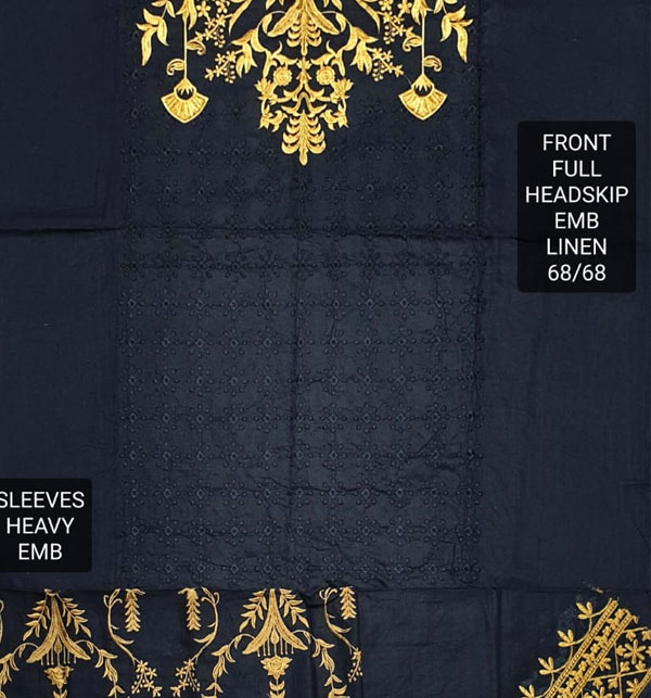 Heavy Embroidered Linen Suit With Embroidered Trouser 2-Pcs UnStitched (LN-156) Gallery Image 1