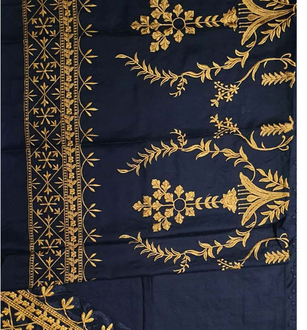 Heavy Embroidered Linen Suit With Embroidered Trouser 2-Pcs UnStitched (LN-156) Gallery Image 3