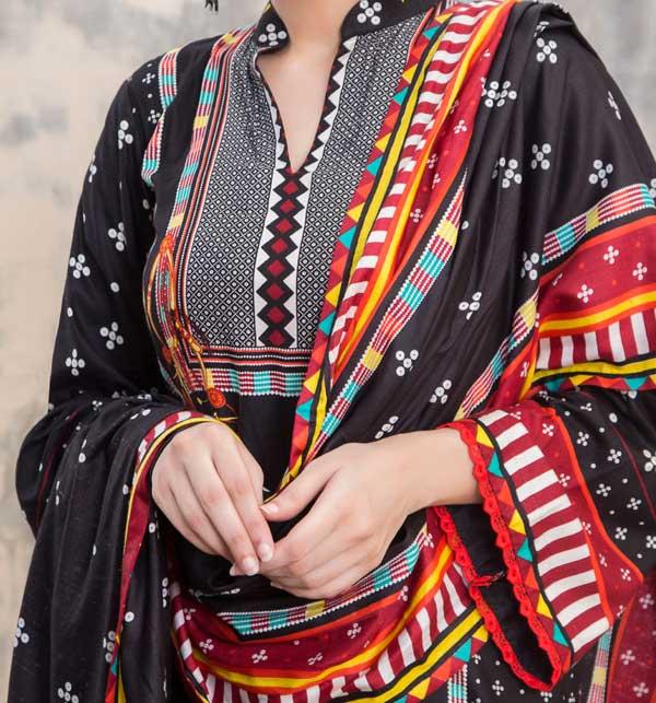 Sahil Black Printed Linen 3 Piece Unstitched Suit (SLN-05) Gallery Image 1