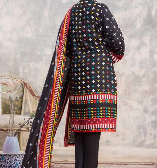 Sahil Black Printed Linen 3 Piece Unstitched Suit (SLN-05) Gallery Image 2