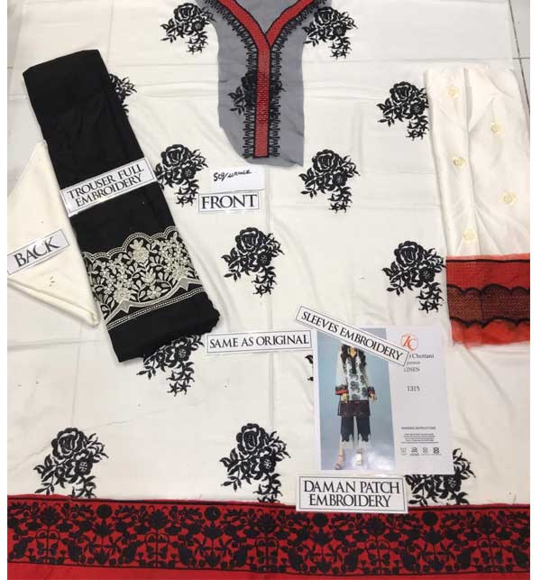 2-Pcs Sequins Linen Collections 2020 UnStitched (LN-163) Gallery Image 1