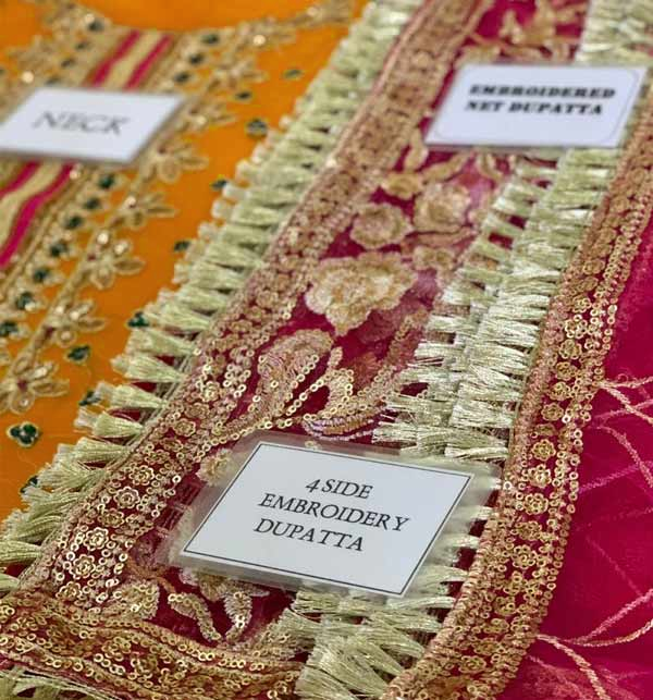 Bridal Chiffon Collection 4 Side Embroidery Dupatta Unstitched (CHI-391) Gallery Image 3