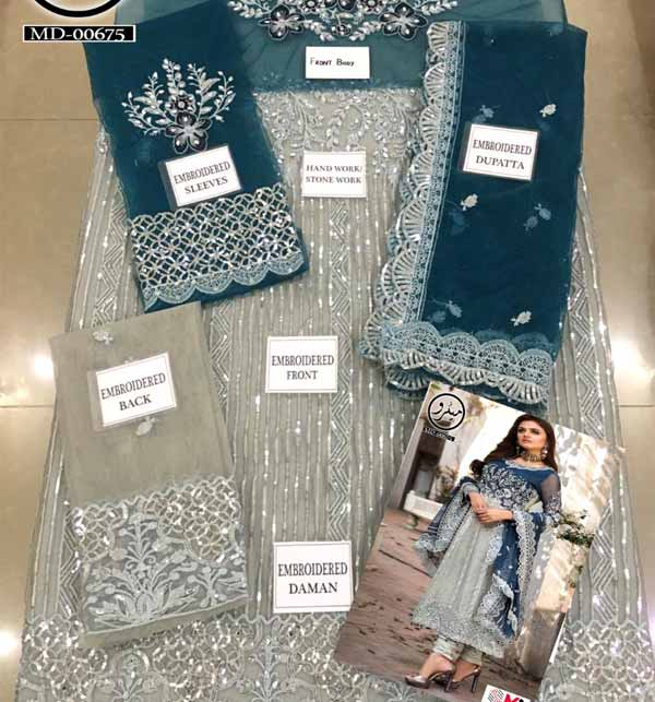 Hit Net Embroidered Suit With Net Embroidery Net Dupatta Unstitched (CHI-394) Gallery Image 2