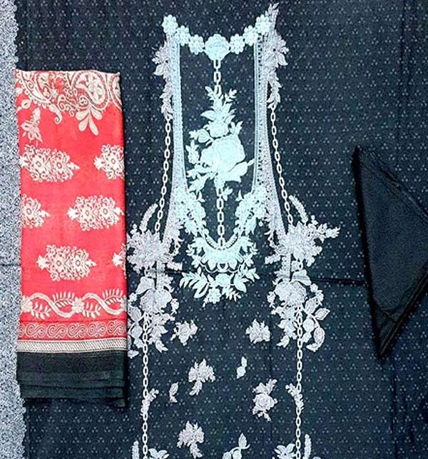 Lawn Embroidered Dress with Chiffon Dupatta UnStitched (DRL-657) Gallery Image 1