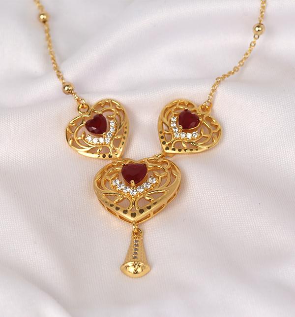 Golden Heart Pendant Set (PS-223) Gallery Image 1