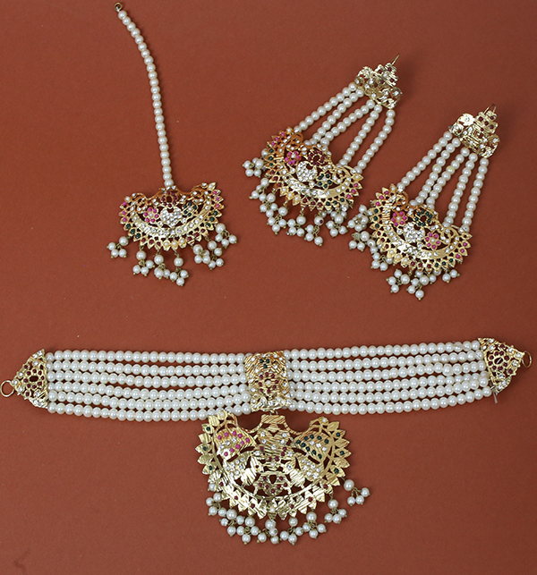 Beautiful Hyderabad 9Ratan Necklaces Set With Earring & Matta Patti (PS-224) Gallery Image 1